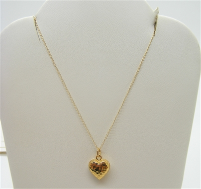 14 K Yellow Gold Heart Pendant Necklace