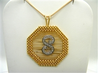 "14K Yellow Gold ""S""  Diamond Pendant"