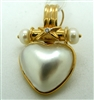 Ladies 14 K Yellow Gold Marble Pearl Diamond Heart Pendant