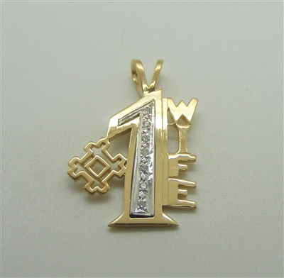 #1 WIfe 14k Yellow Gold Diamond Pendant