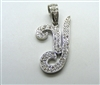 "14k White Gold Letter ""Y"" Diamond Pendant"