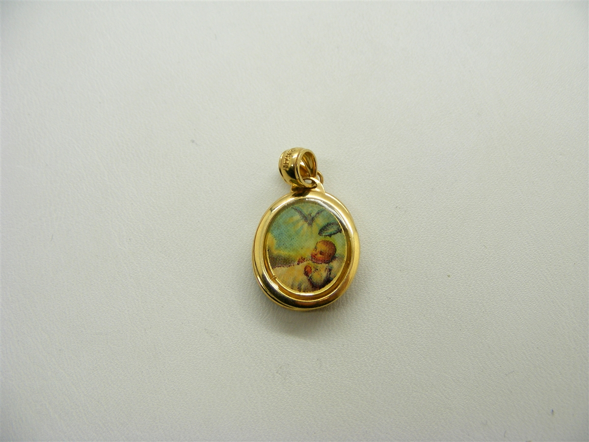 is itm yellow baptism charm christian loading image s gold pendant solid medallion round style