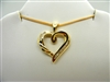 14K Yellow Gold Heart Pendant with Tapered Baguette Diamonds