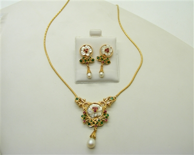 Emerald, Ruby, Pearl Necklace and Earrings Set