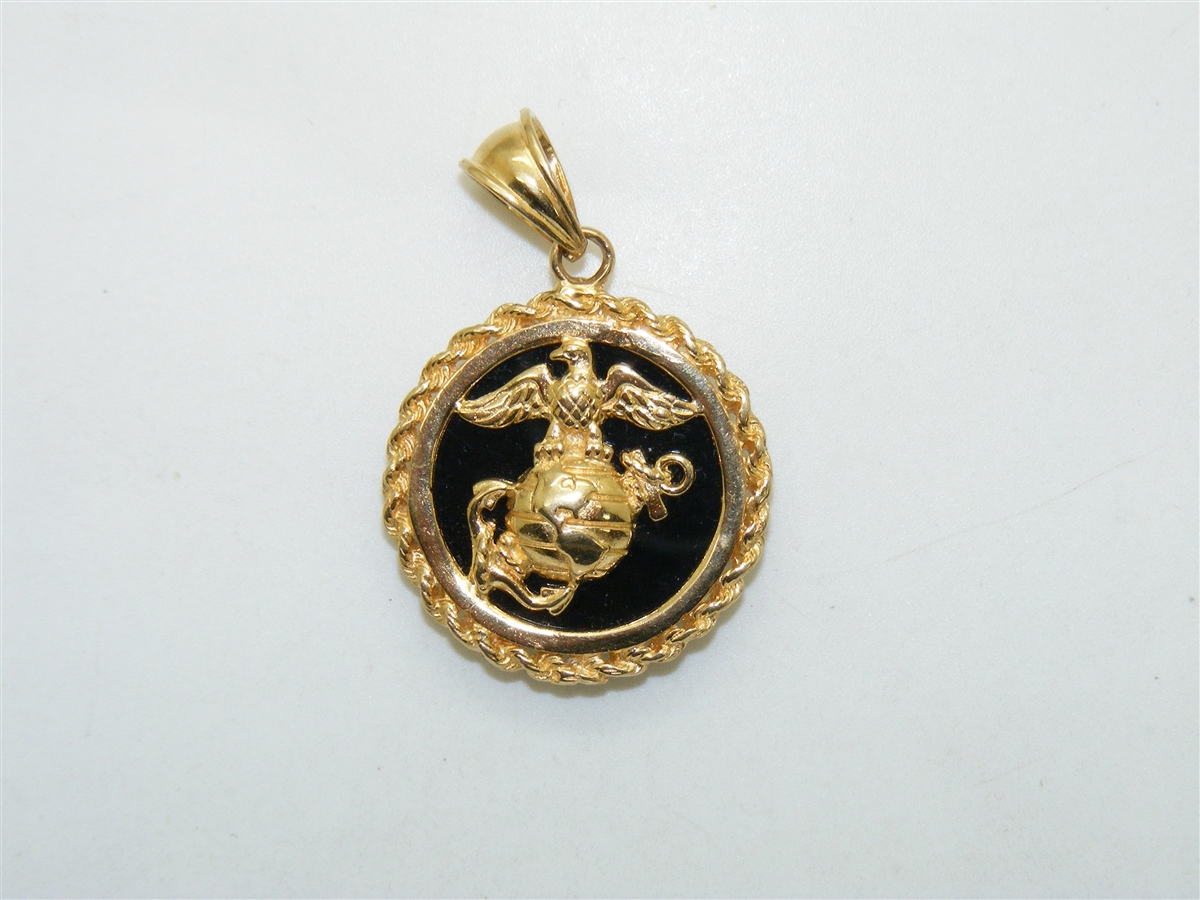 Eagle globe and anchor 14k yellow gold onyx pendant eagle globe and anchor pendant aloadofball Choice Image