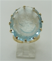 14k Yellow Gold Carved Woman Face Oval Aquamarine Gemstone Ring