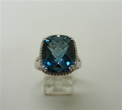 14k White Gold London Blue Topaz Diamond Ring