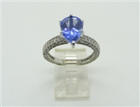 14K WHITE GOLD TANZANAITE Engagement GEMSTONE DIAMOND RING