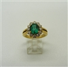 18k Yellow Gold Diamond and Emerald Flower Designed Ring