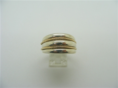 A Simple 925 Sterling Silver with 14 K Yellow Gold 3 Rowed Ring