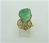 14k Yellow Gold Diamond- Face Carved Emerald Ring