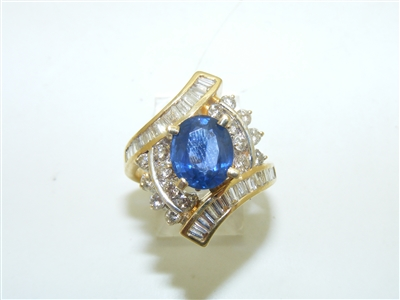 Baguette and Round Cut Diamond Salon Sapphire Ring