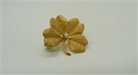 Vintage 10 K Yellow Gold 4 Leaf Clover Pearl Pin.