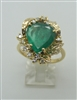 A Beautiful 18k Yellow Gold Colombian Emerald Diamond Ring. (Sizable)