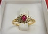 Ladies 14 K Yellow Gold Ruby and Diamond Ring