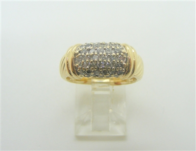 14 K Yellow Gold Pave Diamond Ring