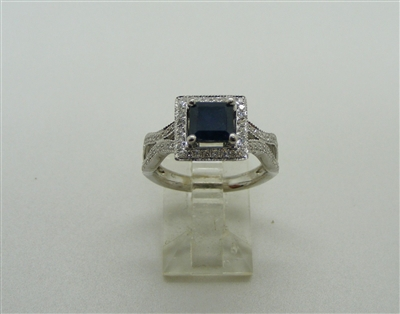 Deep Blue Square Sapphire & Diamond Ring. (14 K White Gold)