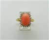 Ladies 18k Yellow Gold Coral Cuban Zircon Ring