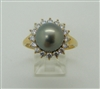 High Lustre Pearl 14k Yellow Gold Ring. (Cuban Zircon)