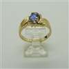 Ladies Oval Tanzanite and Diamond Ring. (14k Yellow Gold)