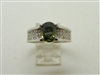 18k White Gold 2 Carat Green Sapphire Diamond Ring.