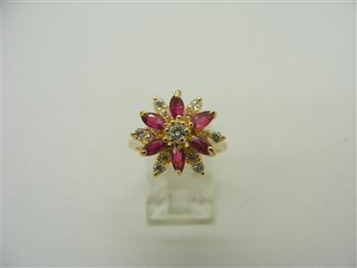 14 K Yellow Gold Ruby and Diamond Flower Designed Ring