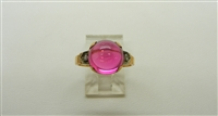 Vintage 14 K Yellow Gold Synthetic Ruby Diamond Ring