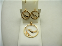 Leaf Gold Earrings and Pendant  Set
