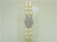 Beautiful Diamond White Gold Pearl Bracelet