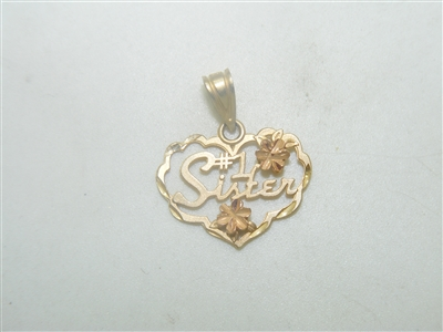 #1 Sister Yellow Gold Pendant