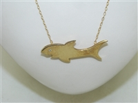 14k Yellow Gold Shark Diamond Necklace