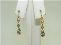 18k Yellow Gold Multi Color Stones Earrings
