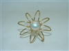 Yellow gold Flower Shaped Mabe Pearl Pin