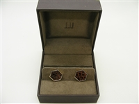 Alfred Dunhill Brown Leather Gold Filled Cufflinks