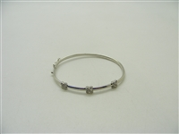 "14K White Gold Kids Diamond ""X"" Bangle Bracelet"