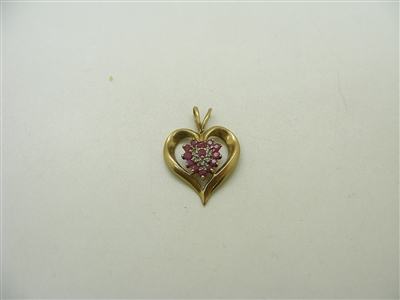 10k Yellow Gold Natural Ruby & Diamond Heart Pendant