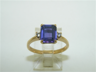 10k Yellow Gold CZ And Rectangle Amethyst Ring