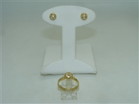 18k Yellow Gold Diamond earring and ring set