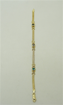 10k Yellow Gold Heart Multicolor stone bracelet