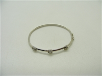 14K White Gold Kids Diamond Bangle Bracelet