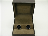 Alfred Dunhill Black Leather Stainless Steel Cufflinks