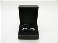 Alfred Dunhill Black Leather 925 Sterling Silver Cufflinks