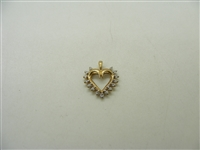 14k Yellow Gold Gold Diamond Heart Pendant