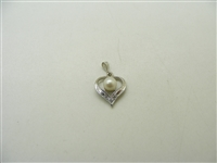 14k White Gold Cultured Pearl & Diamond Heart Pendant