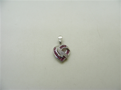 14k White Gold Natural Ruby & Diamond Heart Pendant