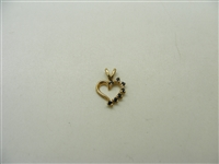 14k Yellow Gold Natural Sapphire Heart Pendant