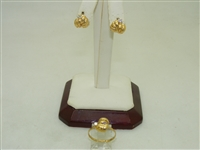 18k Yellow Gold Womens Earring & Ring Set