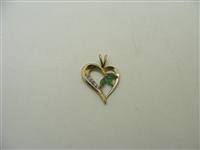 10k Yellow Gold Diamond & Natural Emerald Heart Pendant