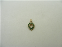 14k Yellow Gold Natural Emerald Heart Pendant