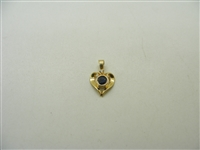 14k Yellow Gold Diamond & Natural Sapphire Heart Pendant